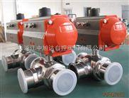 温州ZXDA中旭达Q681F气动三通快装球阀、气动卫生级三通球阀、气动三通球阀