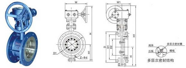 四,法兰式硬密封蝶阀产品结构图